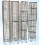 Four Tier Door Wire Mesh Locker in Nest of Three